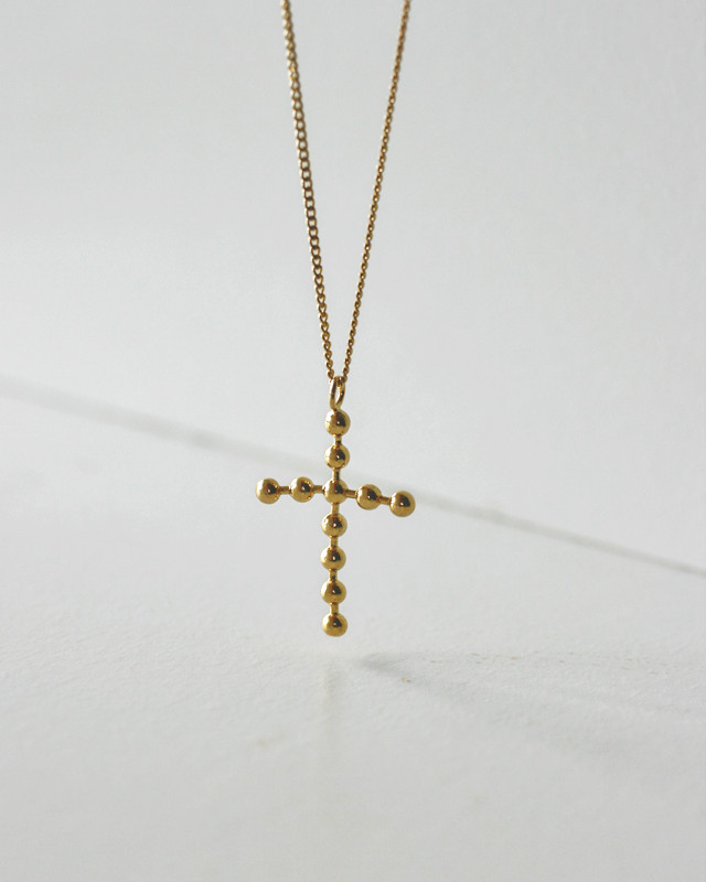 Large Dot Gold Cross Necklace Sterling Silver from kellinsilver.com