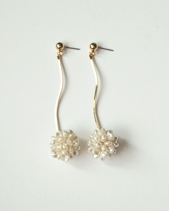 Beaded Pearl Wave Drop Earrings from kellinsilver.com
