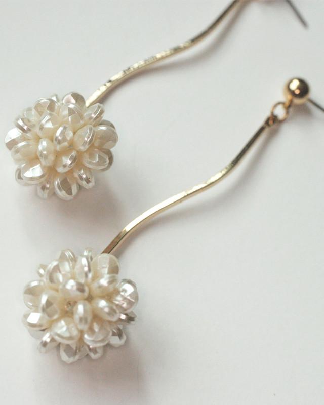 Beaded Pearl Wave Drop Earrings from kellinsilver.com