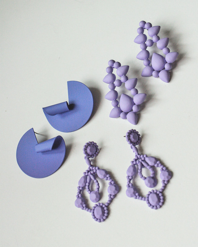 Matte Violet Drop Stud Earrings from kellinsilver.com