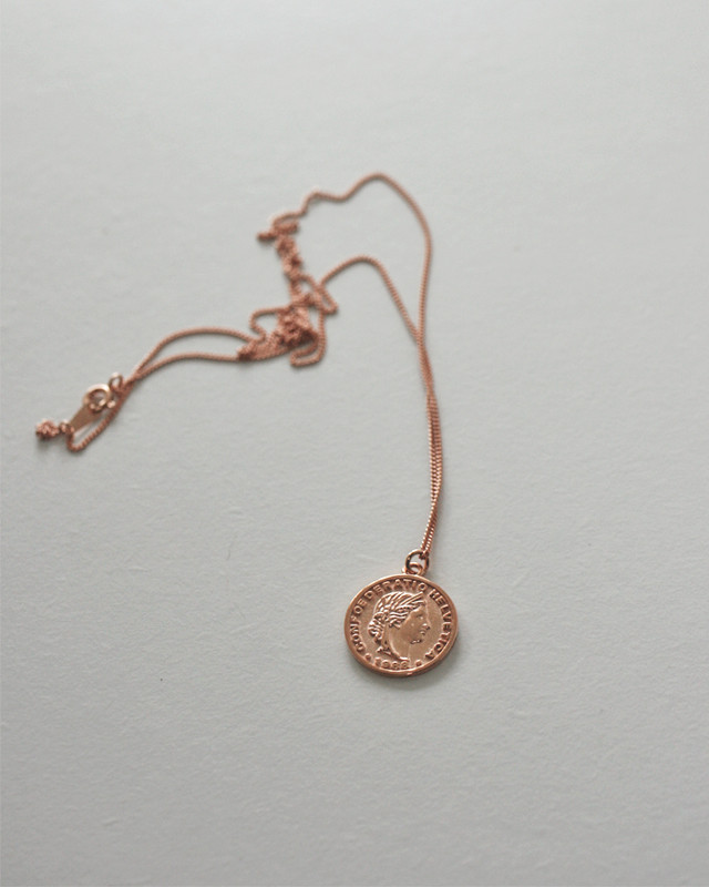 Rose Gold 1988 1 Cent Coin Long Necklace Sterling Silver  from kellinsilver.com