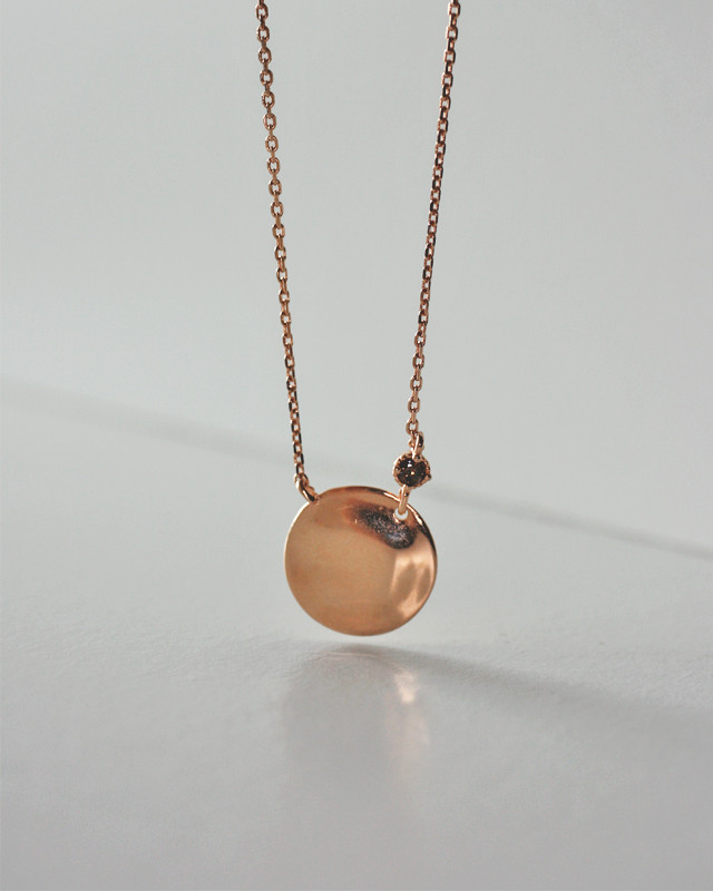 Rose Gold Cognac CZ Disc Necklace Sterling Silver  from kellinsilver.com