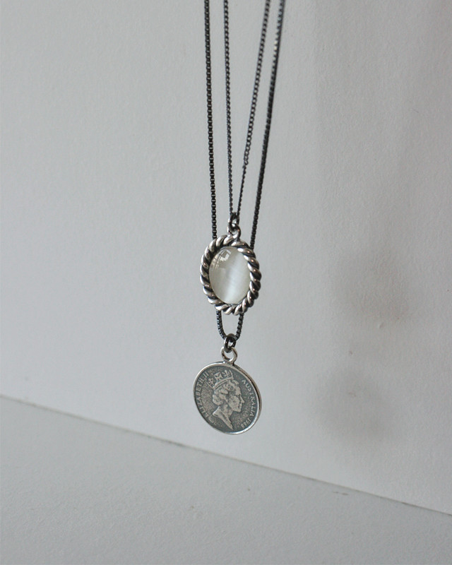 50cm Oxidized Cats eye Oval Necklace Sterling Silver from kellinsilver.com