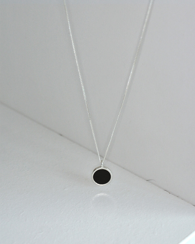Black Circle Pendant Necklace Sterling Silver from kellinsilver.com