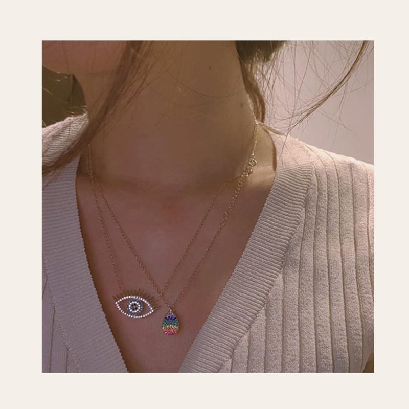 Rainbow Teardrop Necklace Sterling Silver from kellinsilver.com