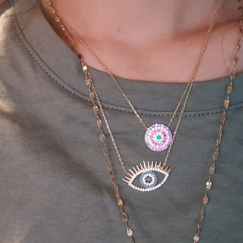 Eyelash Evil Eye Necklace Sterling Silve from kellinsilver.com