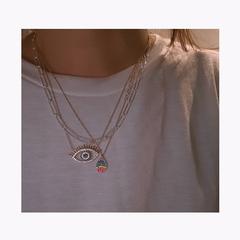 Eyelash Evil Eye Necklace Sterling Silve from kellinsilver.com