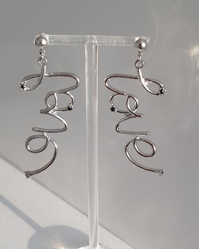 Love Script Earrings Fashion Jewelry from Kellinsilver.com