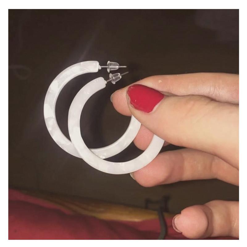40mm Thin Simple White Acrylic Hoop Earrings from kellinsilver.com