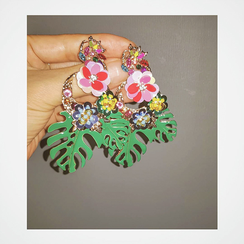 Tropical leaf beaded Earrings from kellinsilver.com