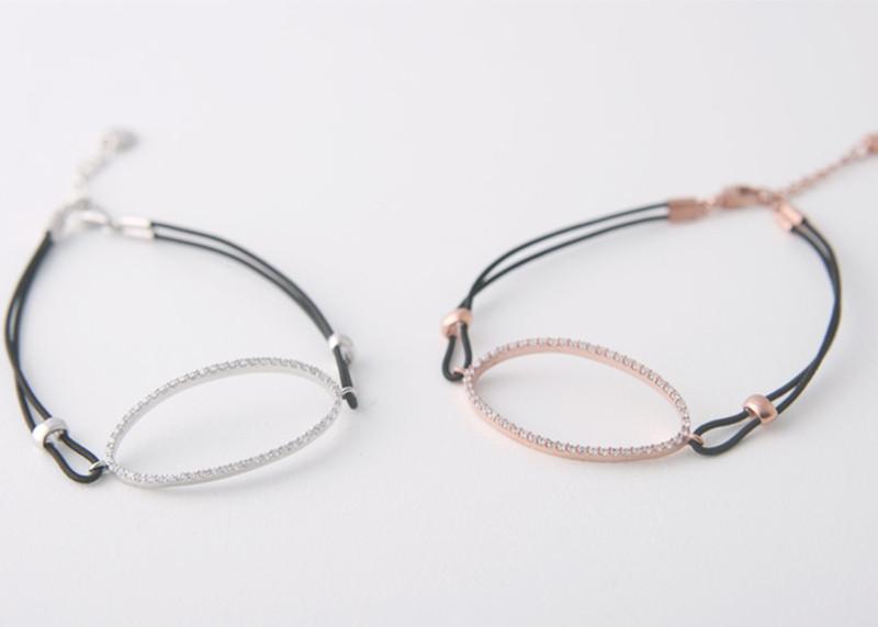 CZ Pave Sterling Silver Ellipse Stretch String Bracelet