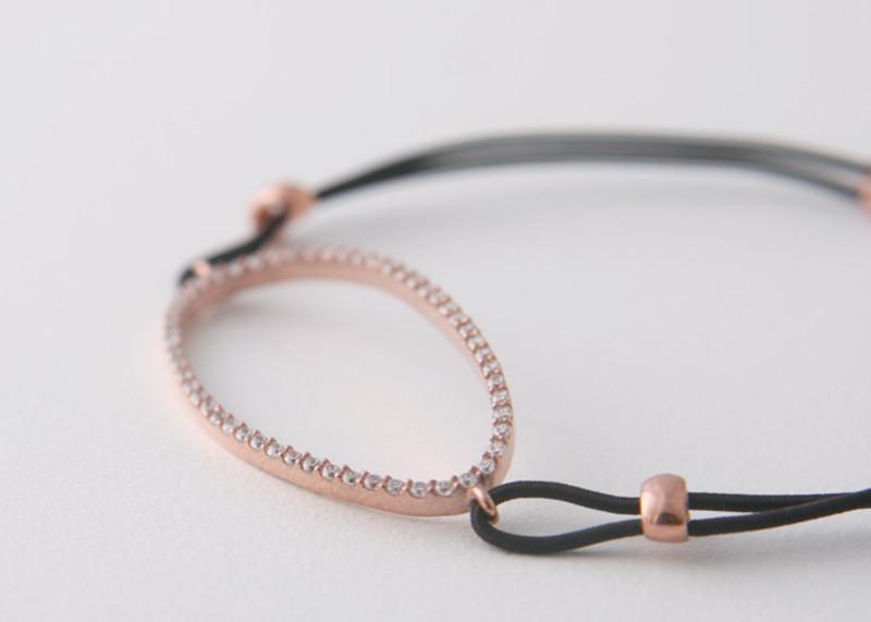 CZ Pave Sterling Silver Ellipse Stretch String Bracelet Rose Gold