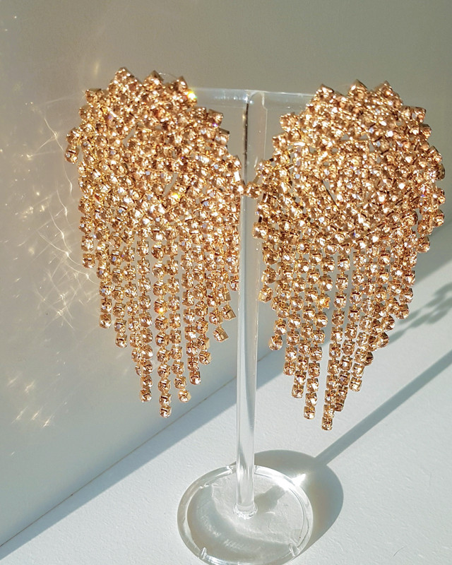 Long Sophia Crystal Earrings Gold from kellinsilver.com