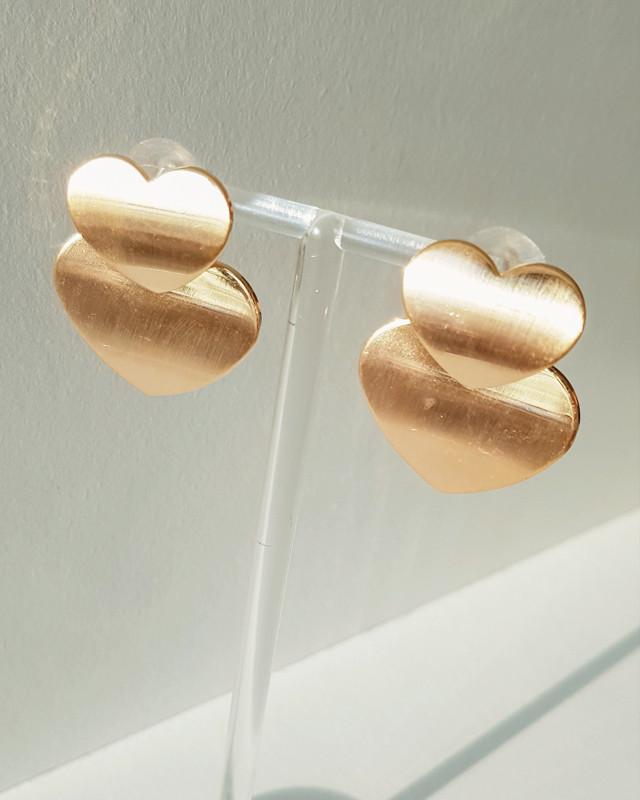 Gold Double Heart Earrings from kellinsilver.com