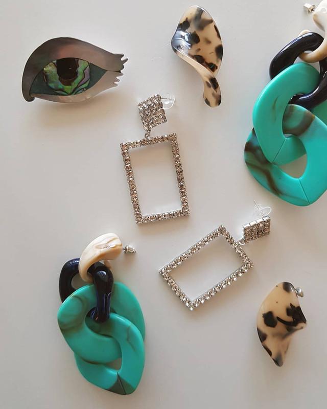 Cozette Acrylic Earrings in Turquoise from kellinsilver.com