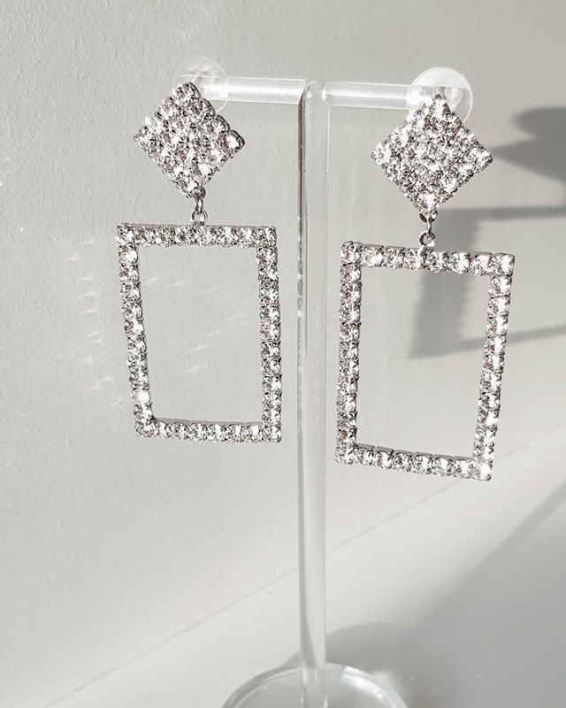 Rhinestone Frame Earrings on kellinsilver.com