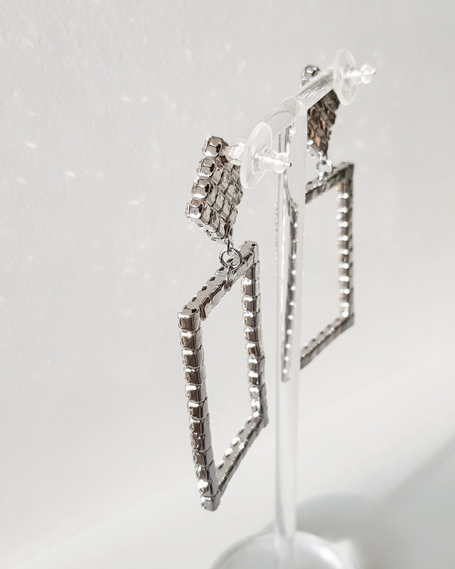 Rhinestone Frame Earrings on kellinsilver.com