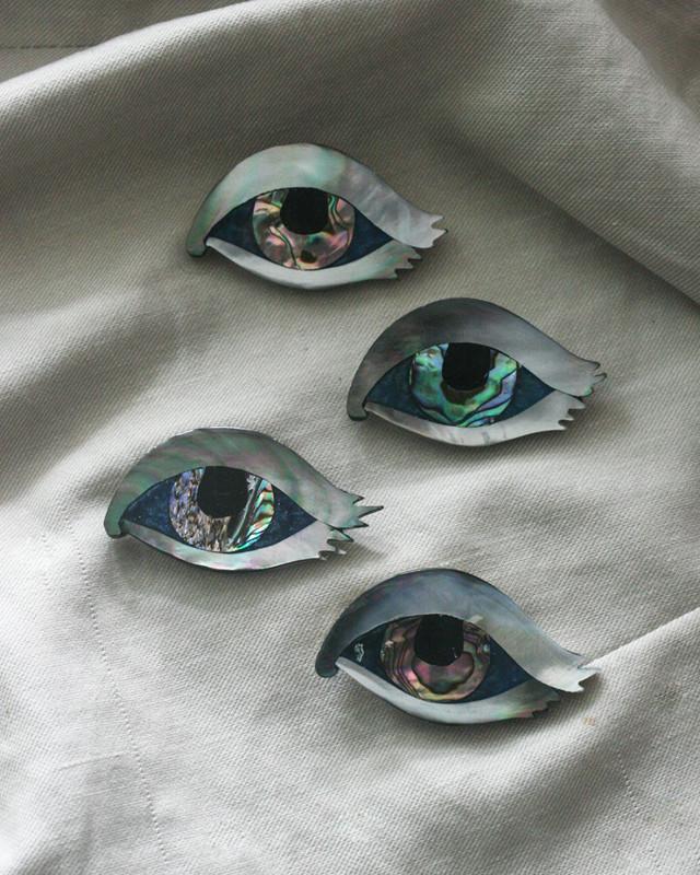 Mother of pearl Evil Eye Brooch on kellinsilver.com