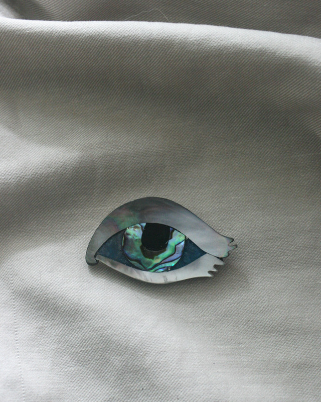Mother of pearl Evil Eye Brooch on kellinsilver.com