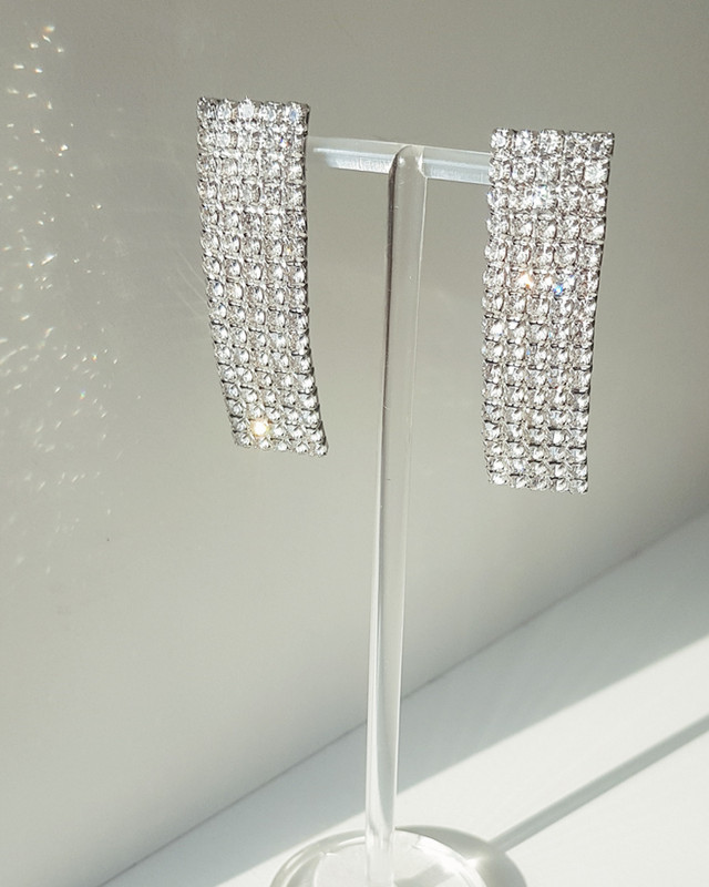 Rhinestone Curved Stick Earrings on kellinsilver.com
