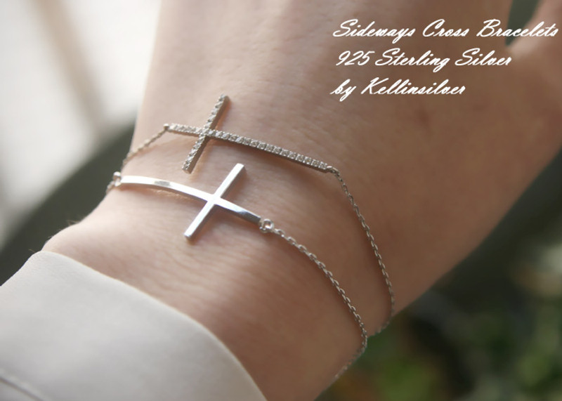 Sterling Silver Sideways Cross Bracelet White Gold from kellinsilver.com