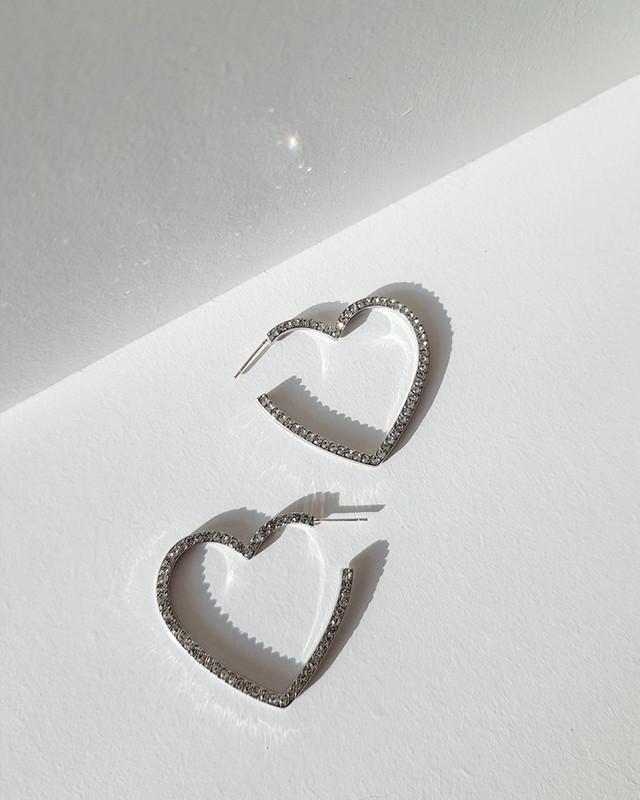 Side CZ Heart Studs on kellinsilver.com
