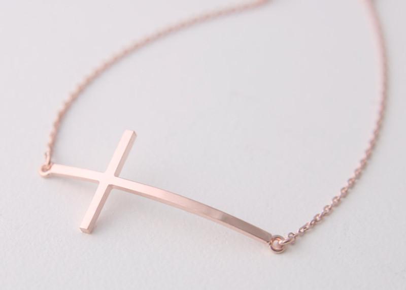Sterling Silver Sideways Cross Bracelet Rose Gold from kellinsilver.com