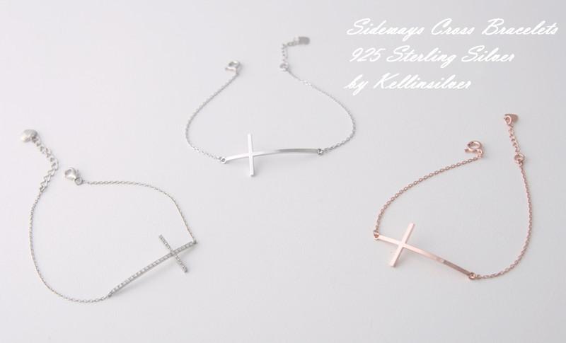 Sterling Silver Sideways Cross Bracelet Rose Gold