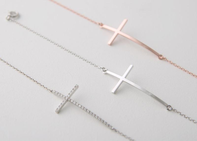 Gold Sideways Cross Bracelet Sterling Silver from kellinsilver.com