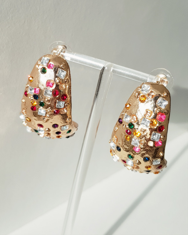 Varinia Rhinestone Hoop Earrings on kellinsilver.com
