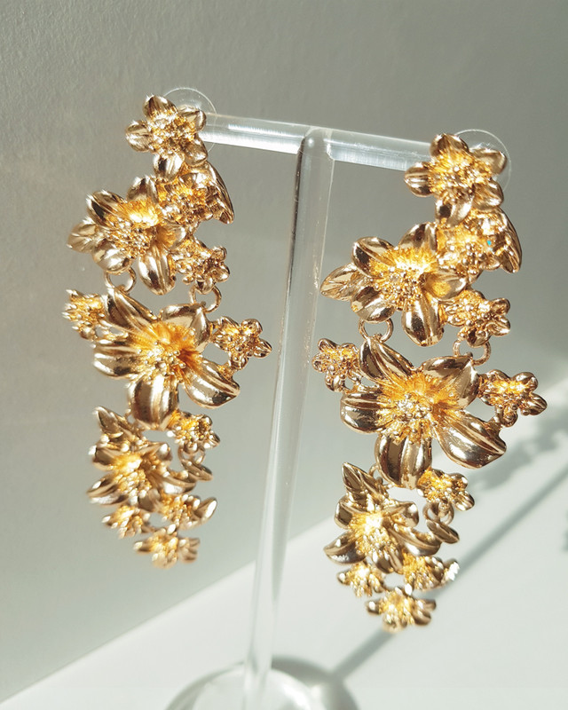 Blossom Drop Earrings in Gold on kellinsilver.com
