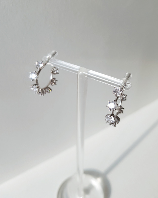 Scattered CZ Hoop Earrings in Sterling Silver on kellinsilver.com