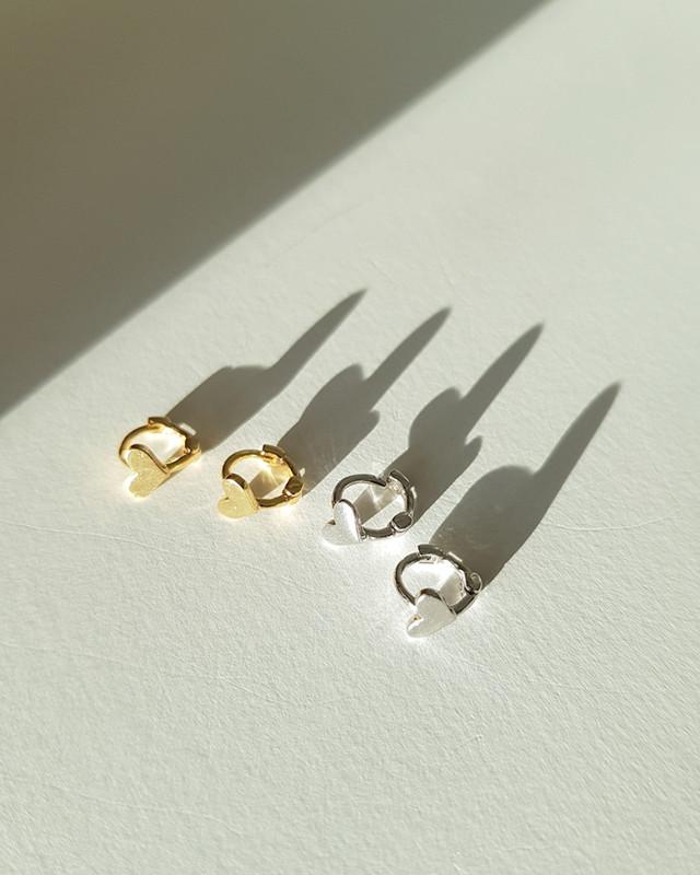 Tiny Heart Hoop Earrings in Sterling Silver on kellinsilver.com