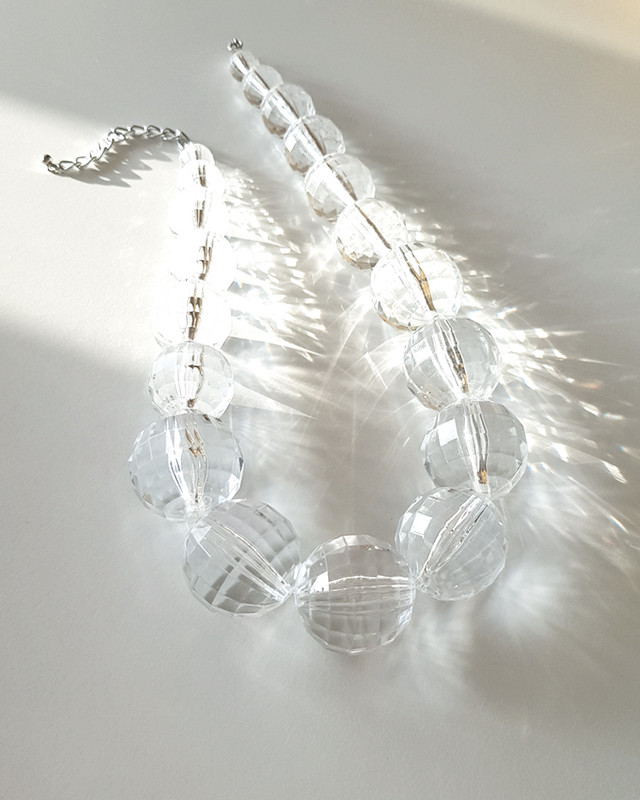 Clear Oversize Ball Beaded Necklace on kellinsilver.com