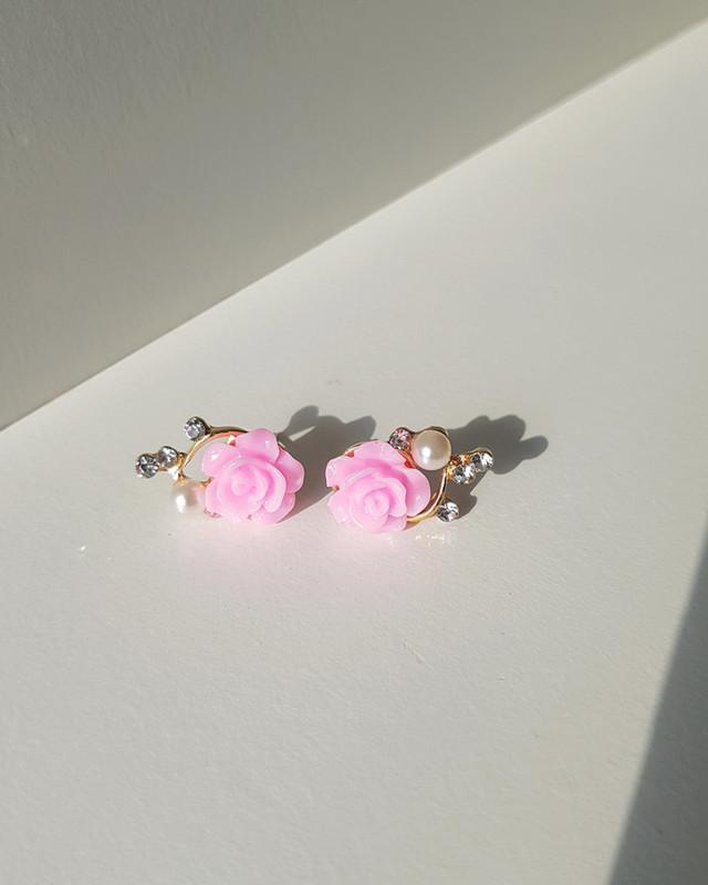 Tiny Pink Rose Earrings on kellinsilver.com