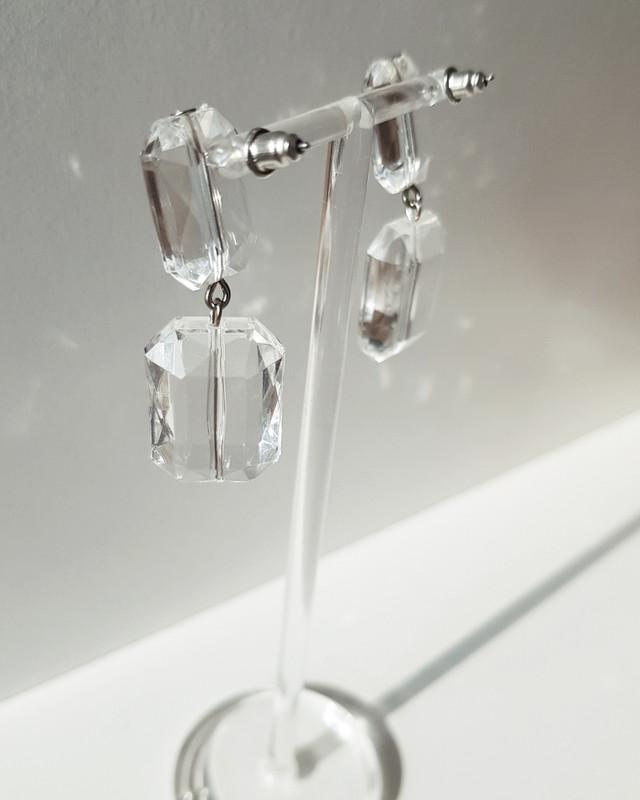Emerald Cut Clear Beads Drop Earrings on kellinsilver.com