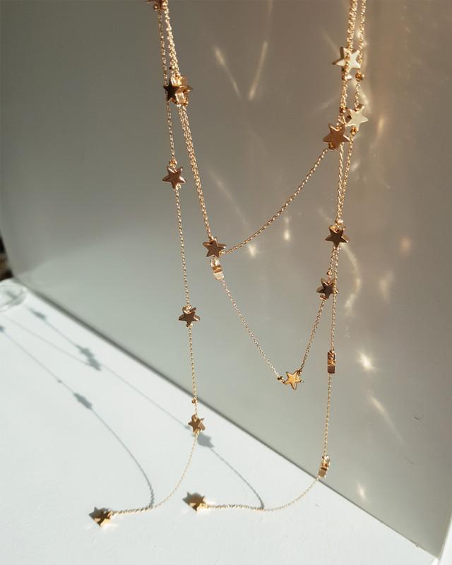 Galaxy Star Choker Necklace in Gold on kellinsilver.com