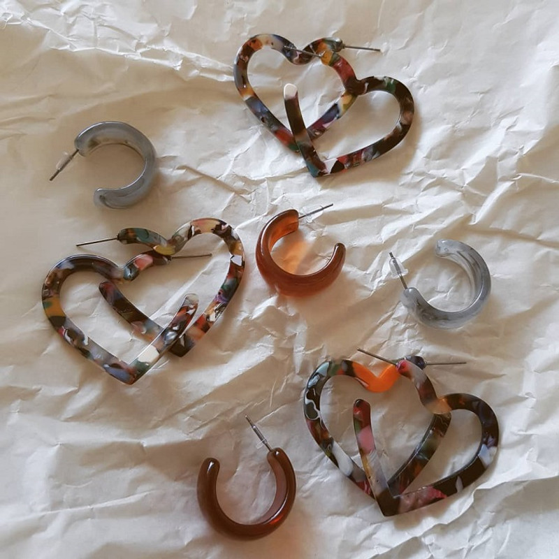 Resin Chunky Mini Hoop Earrings on kellinsilver.com