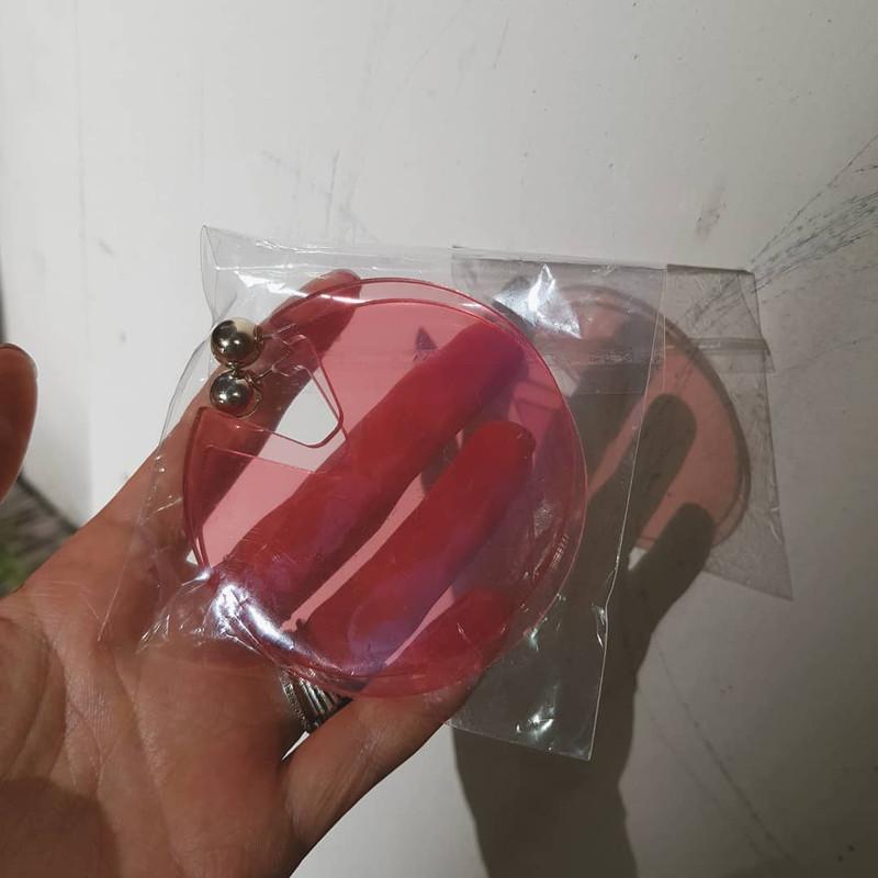 Acrylic Disc Hoop Earrings in Pink on kellinsilver.com