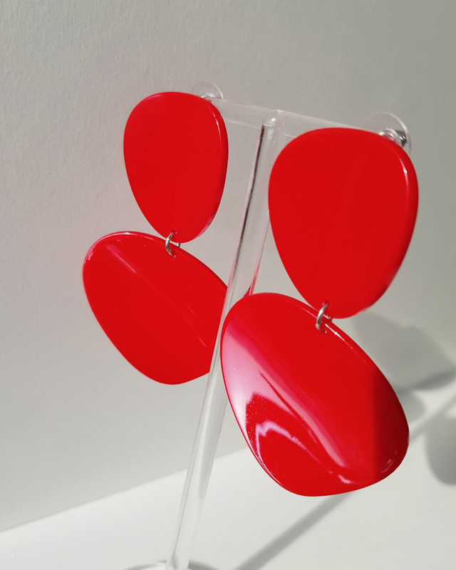 Acrylic Curved Drop Earrings in Red on kellinsilver.com