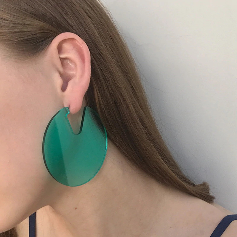 Acrylic Disc Hoop Earrings in Green on kellinsilver.com