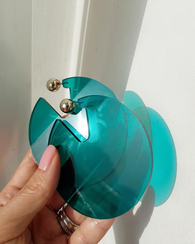 Acrylic Disc Hoop Earrings in Green on kellinsilver.com