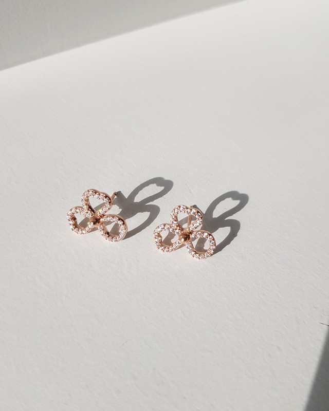 Rose Gold Open Flower Studs in Sterling Silver from kellinsilver.com