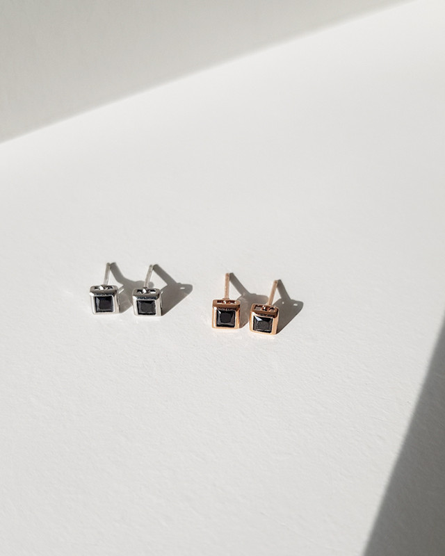 Tiny Black Square Studs in Sterling Silver on kellinsilver.com