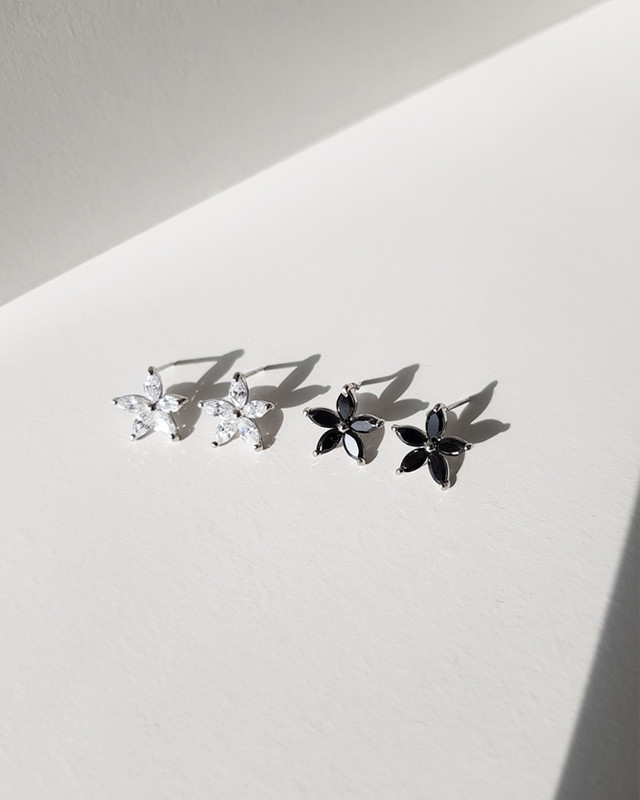 CZ Daisy Stud Earrings in Sterling Silver on kellinsilver.com