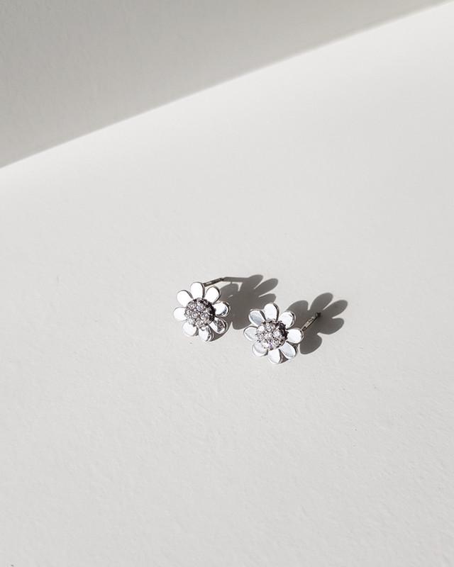 Tiny Daisy Flower Earrings in Sterling Silver on kellinsilver.com