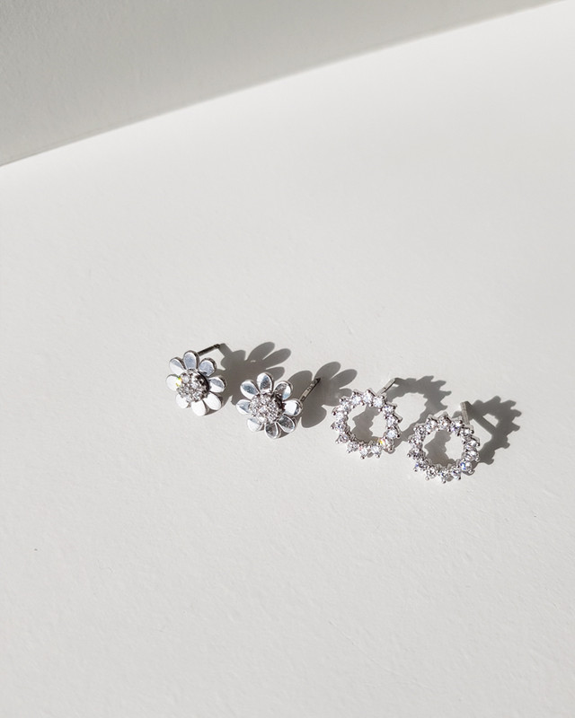 Tiny CZ Open Circle Studs in Sterling Silver on kellinsilver.com