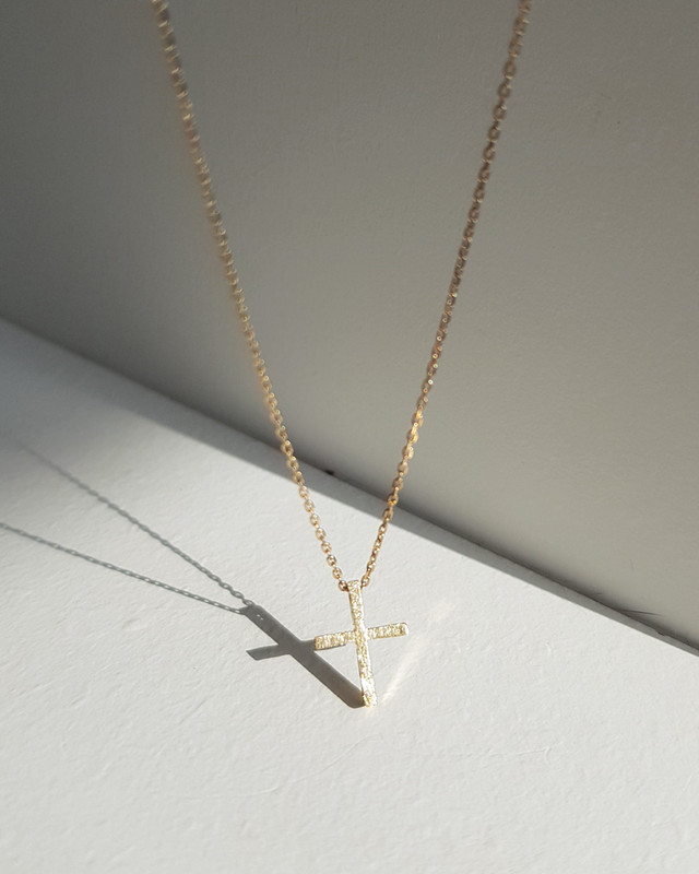 Tiny Gold Cross Necklace Sterling Silver on kellinsilver.com