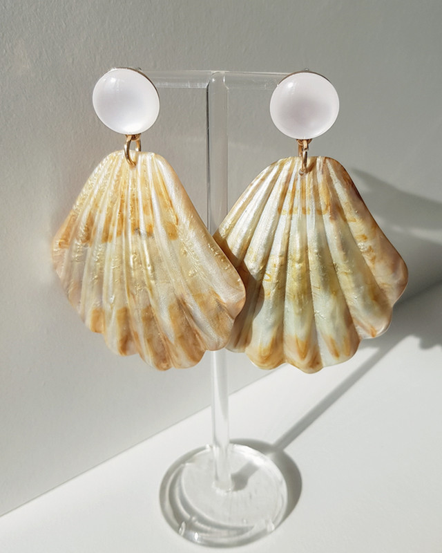 Resin Large Shell Drop Earrings on kellinsilver.com