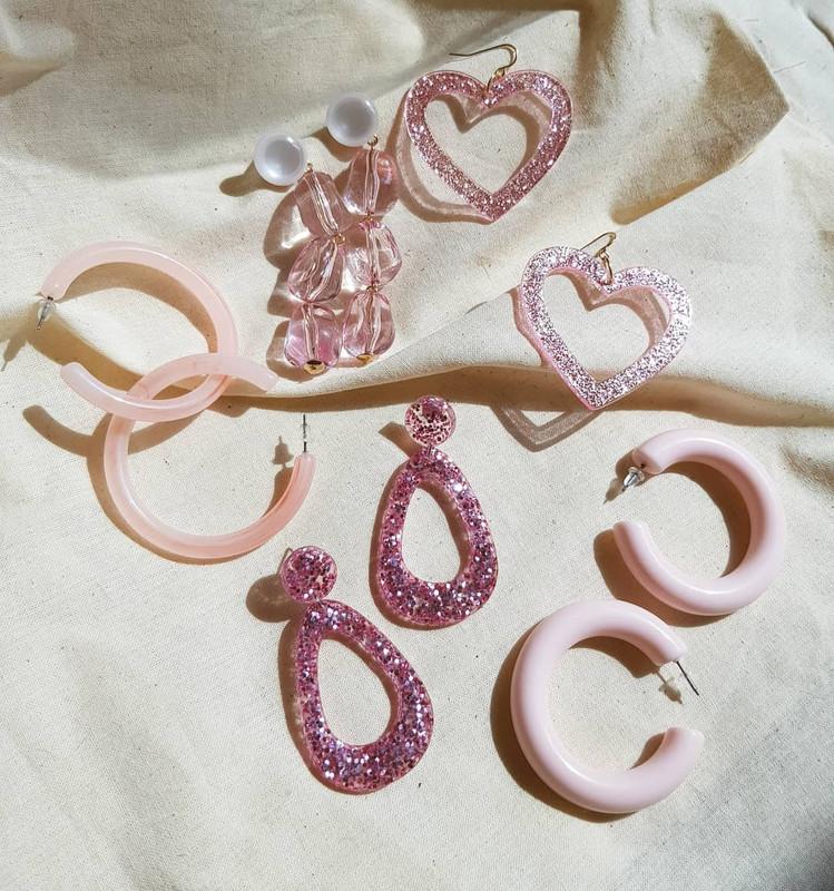 53mm Candy Hoop Earrings in Pastel Pink on kellinsilver.com